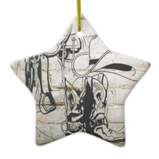 Horse Saddle Hat Western Cowboy Cowgirl Christmas Ornament