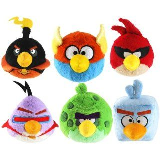 "Fantastic Set of 6 Angry Birds Space Bird (No Sound) Plush Dolls Featuring 5"" Plush Dolls Including Lazer Bird, Red Bird, Terence Green Bird, Blue Bird, Ice Bird, and Black Bomber Toys & Games"