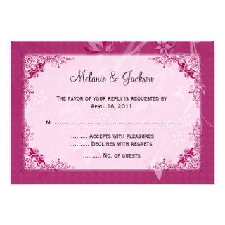 Dark Light Rose Pink Floral Swirls RSVP Invitations