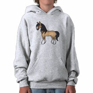 Buckskin Cartoon Gypsy Vanner Shire Horse Hooded Pullovers