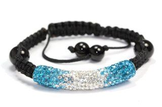 Ocean Blue Clear Shamballa Style Tube Bracelet Swarovski Crystal Bead Bangle adjustable