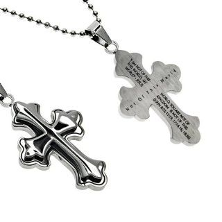 "Christian Mens Stainless Steel Abstinence ""Not of This World I am Not of this World, You are Not of this World, My Kingdom is Not of this World."" John 823, 1519, 1714,16 1836 Deluxe Crusader Cross Necklace for Boys on a 24"" Ball Chain"