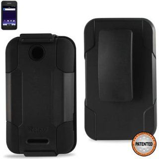Reiko SLCPC09 ZTEX500MBK Premium Durable Protective Combo Case/Holster for ZTE Score (X500)  1 Pack   Retail Packaging   Black Cell Phones & Accessories