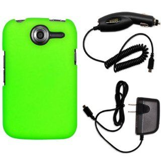 CoverON� Pantech Renue Hard Rubberized Slim Case Bundle with Black Micro USB Home Charger & Car Charger   Neon Green Cell Phones & Accessories