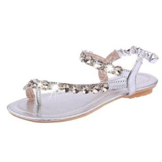 Hee Grand Women Gladiator Flat Shoes Beaded Rhinestones Thong Sandals Shoes