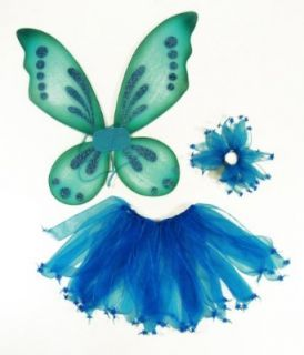3 Piece Girls Pixie Fairy Costume Wing, Tutu, Hair tie (Pony O). Select Color Blue Clothing