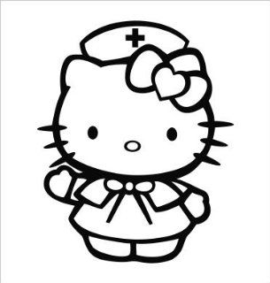 "Hello Kitty Nurse Vinyl Die Cut Decal Sticker 5.00"" Black"
