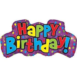 Happy Birthday Word Helium Shape Foil Balloon (1 per package) Toys & Games