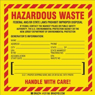 "Brady 121156 Vinyl Film Hazardous Waste Labels   Label New Jersey Specific , Black,  Red On Yellow,  6"" Height x 6"" Width,  Legend ""Hazardous Waste Federal Law Prohibits ImproLabels per DisposalEtc   New Jersey Specific"" (50 Labels per"