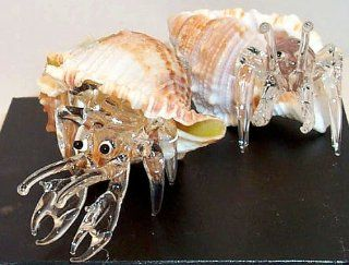 Crab, Clear Art Glass Hermit Crab, placed in natural Shell, mid size   Collectible Figurines