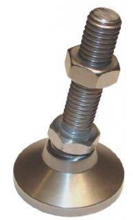 "Morton LM 3035 Steel Standard Leveling Mount with Bolt, 5000 lbs Load Capacity, 1/2"" 13 Thread, 4"" Thread Length, 1 7/8"" Head Diameter, 5 1/8"" Overall Length, 3/4"" Hex Bolt Industrial Hardware"