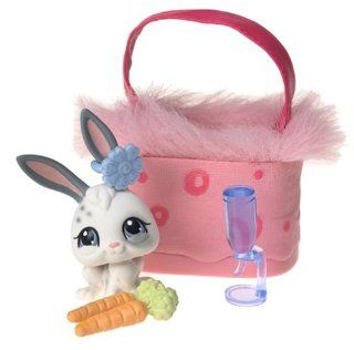 Littlest Pet Shop Pets On The Go Figure White Bunny with Pink Carry Case Toys & Games