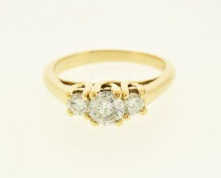 14K Yellow Gold Diamond Past/Present/Future Ring Jewelry