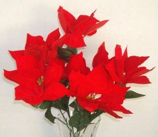 7 Red Poinsettia Artificial Silk Flowers Bouquet   Just Artifacts Brand