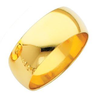 14K Yellow Gold 8mm Plain Wedding Band Ring for Men & Women (Size 4 to 12) Women S Rings Jewelry