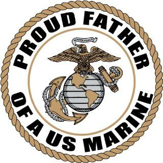"PROUD FATHER OF US MARINE CORPS ARMY DECAL STICKER 5"" (WHITE)"