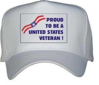 PROUD TO BE A UNITED STATES VETERAN  White Hat / Baseball Cap Clothing