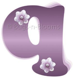 """q"" Purple Daisy Flower Alphabet Letter Name Initial Wall Sticker   Decal Letters for Children's, Nursery & Baby's Room Decor, Baby Name Wall Letters, Girls Bedroom Wall Letter Decorations, Child's Names. Flowers Mural Walls Decal"