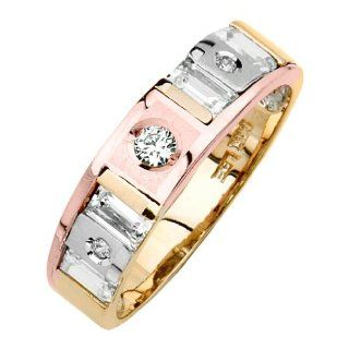 14K Tri color Gold Round & Baguette Top Quality Shines CZ Cubic Zirconia Wedding Band Ring for Women Goldenmine Jewelry
