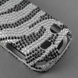 BLING DIAMOND RHINESTONE CRYSTAL ZEBRA HARD PHONE CASES COVERS SKINS SNAP ON FACEPLATE PROTECTOR FOR SAMSUNG MESSAGER TOUCH R630 CRICKET ALLTEL (WHOLESALE PRICE) Cell Phones & Accessories