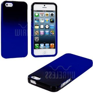 myLife (TM) Blue + Black Two Tone Series (2 Piece Snap On) Hardshell Plates Case for the iPhone 5/5S (5G) 5th Generation Touch Phone (Clip Fitted Front and Back Solid Cover Case + Rubberized Tough Armor Skin + Lifetime Warranty + Sealed Inside myLife Autho