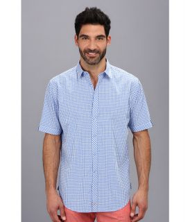 Thomas Dean & Co. Seersucker Gingham Button Down S/S Sport Shirt Mens Clothing (Blue)