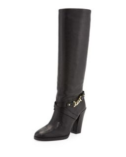 montreal chain link leather boot, black   Kate Spade   Black (39.0B/9.0B)