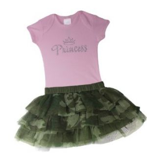 Baby Boutique Baby Girls Camo Tutu Skirt and Princess Onesie , Green/Camouflage Print, 12 months Clothing