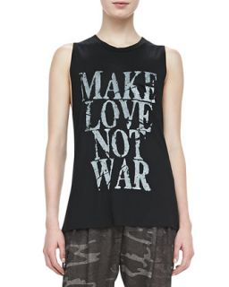 Womens Make Love Not War Tee   Haute Hippie   Black (X SMALL)