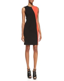 Womens Sleeveless Colorblock Sheath Dress   DKNY   Black (8)
