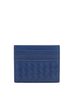 Mens Flat Woven Card Case, Blue   Bottega Veneta   Blue