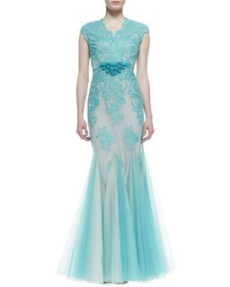 Womens Cap Sleeve Lace Overlay Mermaid Gown, Aqua   Rickie Freeman for Teri