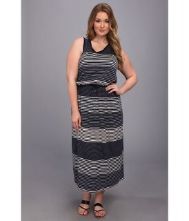 TWO by Vince Camuto Plus Size Navy Engineered Stripe Maxi Dress Womens Dress (Orange)