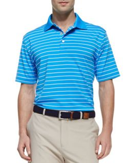 Mens E4 Quarter Stripe Polo Shirt, Blue/White   Peter Millar   Blue (XXL)