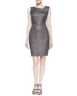Womens Sleeveless Metallic Dress, Gunmetal   Halston Heritage   Gunmetal (4)