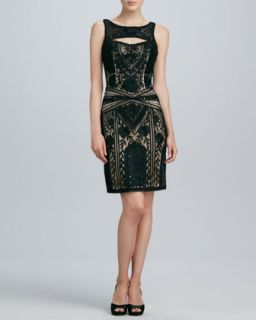 Womens Beaded Keyhole Cocktail Dress   Sue Wong   Black/Nude (8)