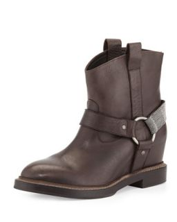 Hidden Wedge Harness Boot   Brunello Cucinelli   Graphite (37.5B/7.5B)