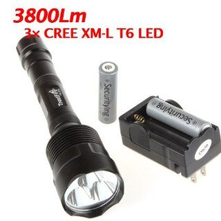 TrustFire Super Bright 3800Lm 3X CREE XM L T6 LED Flashlight Torch, Bright CREE LED Lamp Light Torch, Cree T6 LED Bulb Lamp Flashlight with 18650 Battery and Charger, Great Flashlight Torch for Cmaping, Hikging and Other Indoor/Outdoor Activities   Basic H