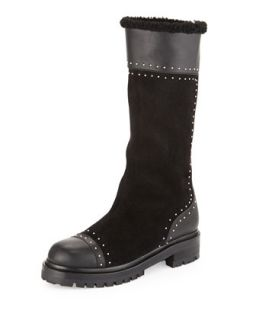 Studded Mid Calf Shearling Fur Lined Boot, Black   Alexander McQueen   Black