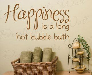 Happiness is a Long Hot Bubble Bath   Bathroom Kids Baby   Quote Design Decal, Decoration, Large Wall Saying, Lettering Sticker, Adhesive Vinyl Decor Art Letters   Home Decor Product