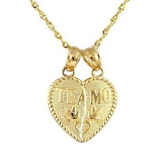 "14k Yellow Gold ""Te Amo"" Heart Breakable Couple Charm Necklace (16 Inches) Jewelry"
