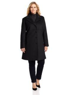 Larry Levine Women's Plus Size Classic Single Breasted Notch Collar Coat, Fire Brick, 14W