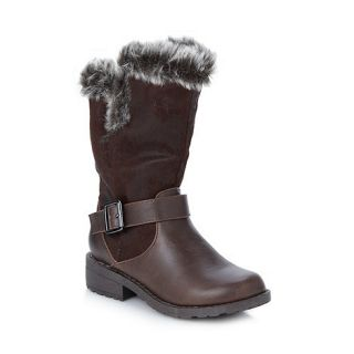 bluezoo Girls brown faux fur lined boots