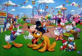 Disney carnival horiz POSTER 34 x 23.5 Mickey Mouse Donald Duck Huey Dewey Louie Pluto Minnie Mouse Daisy Duck (sent from USA in PVC pipe)  Prints