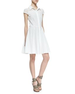 Womens Miah Fit and Flare Shirtdress, White   Amanda Uprichard   White (SMALL)
