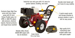 NorthStar Super High Flow Gas Cold Water Pressure Washer — 5.0 GPM, 3000 PSI, Honda Engine, Belt Drive, Model# 1572042  Gas Cold Water Pressure Washers