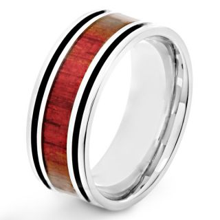 Stainless Steel Mens Red Wood Inlay and Black Enamel Stripe Ring