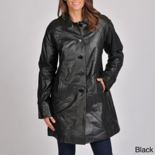 Excelled Womens Leather Swing Coat  ™ Shopping   Top