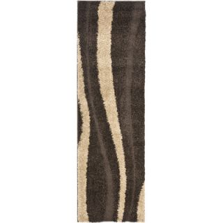 Florida Shag Dark Brown & Beige Area Rug by Safavieh