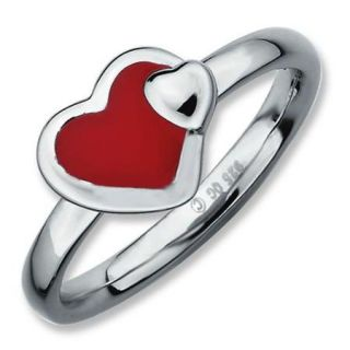 Sterling Silver Stackable Expressions Polished Red Enameled Heart Ring   Size 10